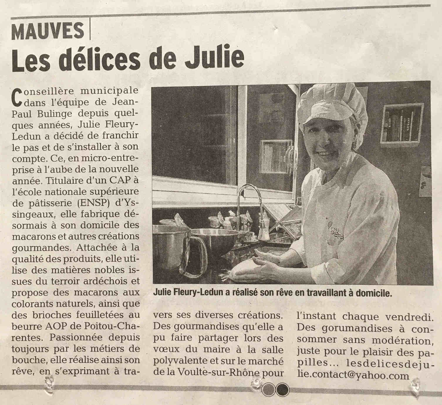 Newspaper Julie Fleury Ledun - Mauves